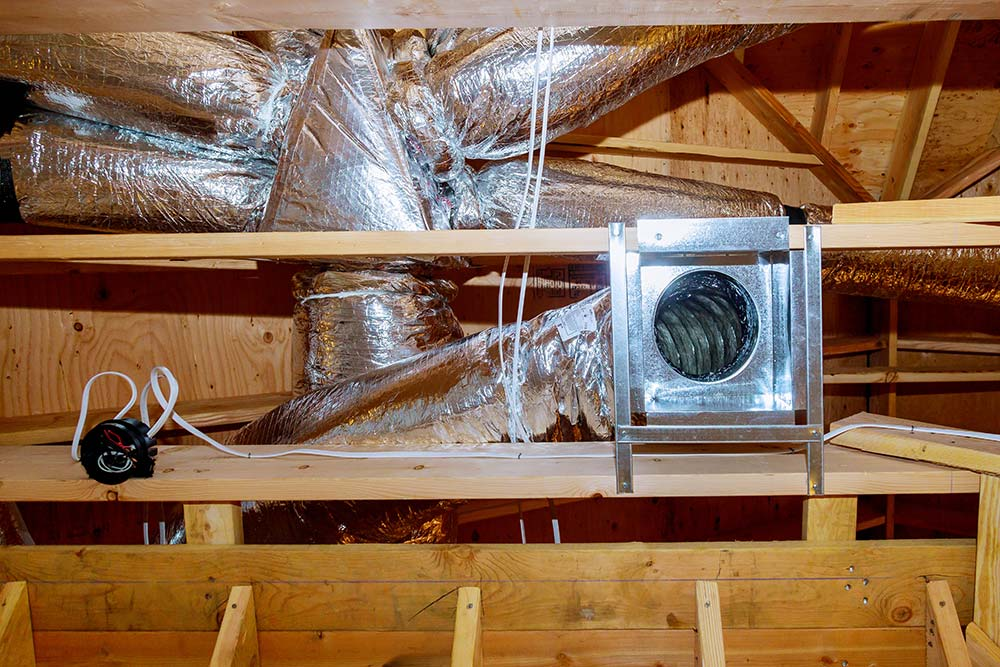 HVAC ductwork in attic