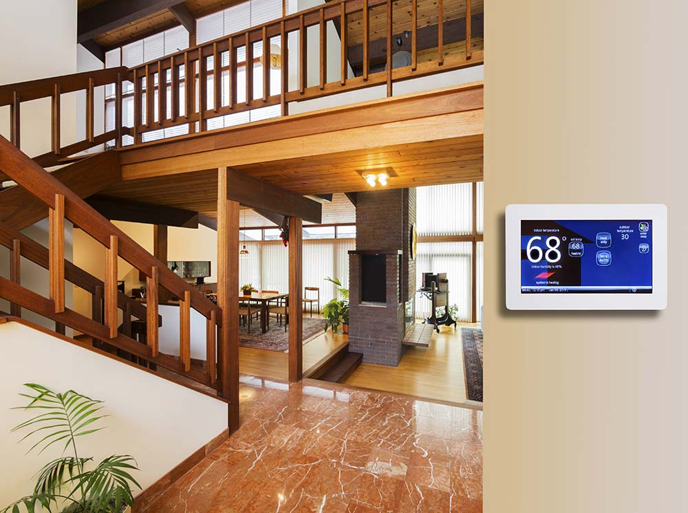 inside home with thermostat